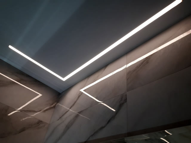 Light lines on the ceiling in Odessa with the installation from the Demi-Lune